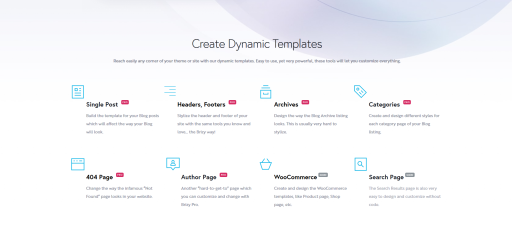 Brizy Pro - A great selection of dynamic sections