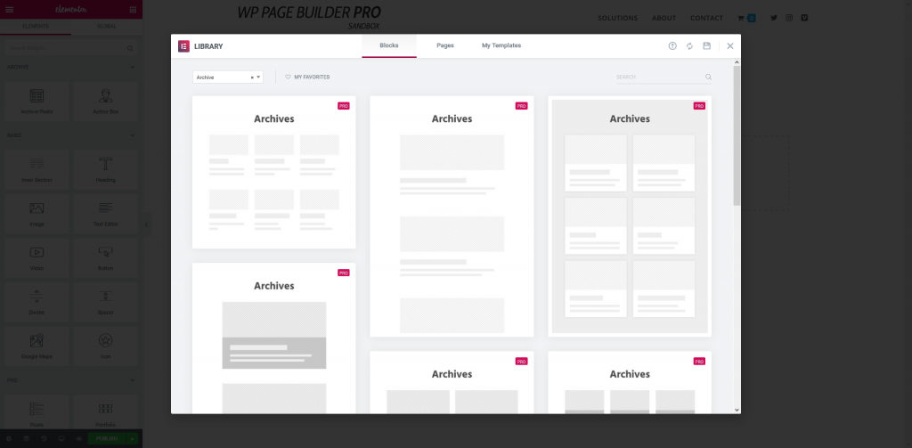 Elementor - Theme Builder Templates - Archives