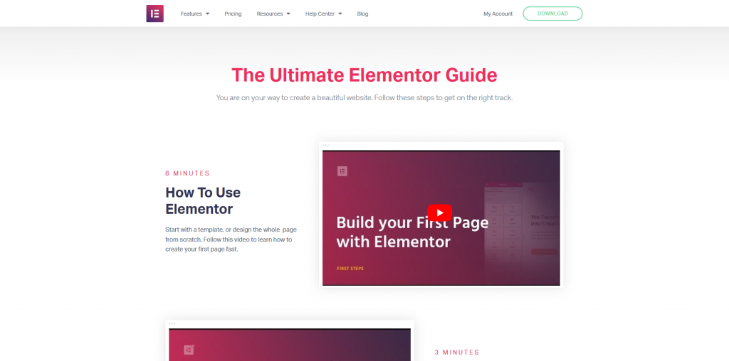 Elementor's Ultimate Guide to building pages.