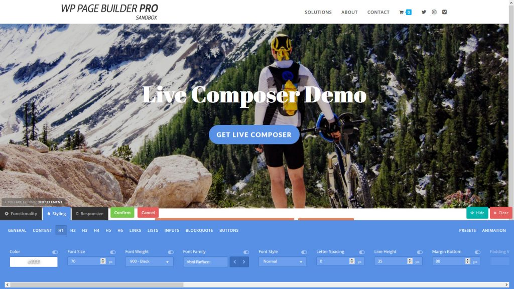 Live Composer - The Text element overwhelms with options to style just about everything