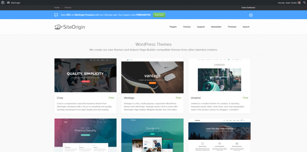 SiteOrigin Page Builder - Theme Library